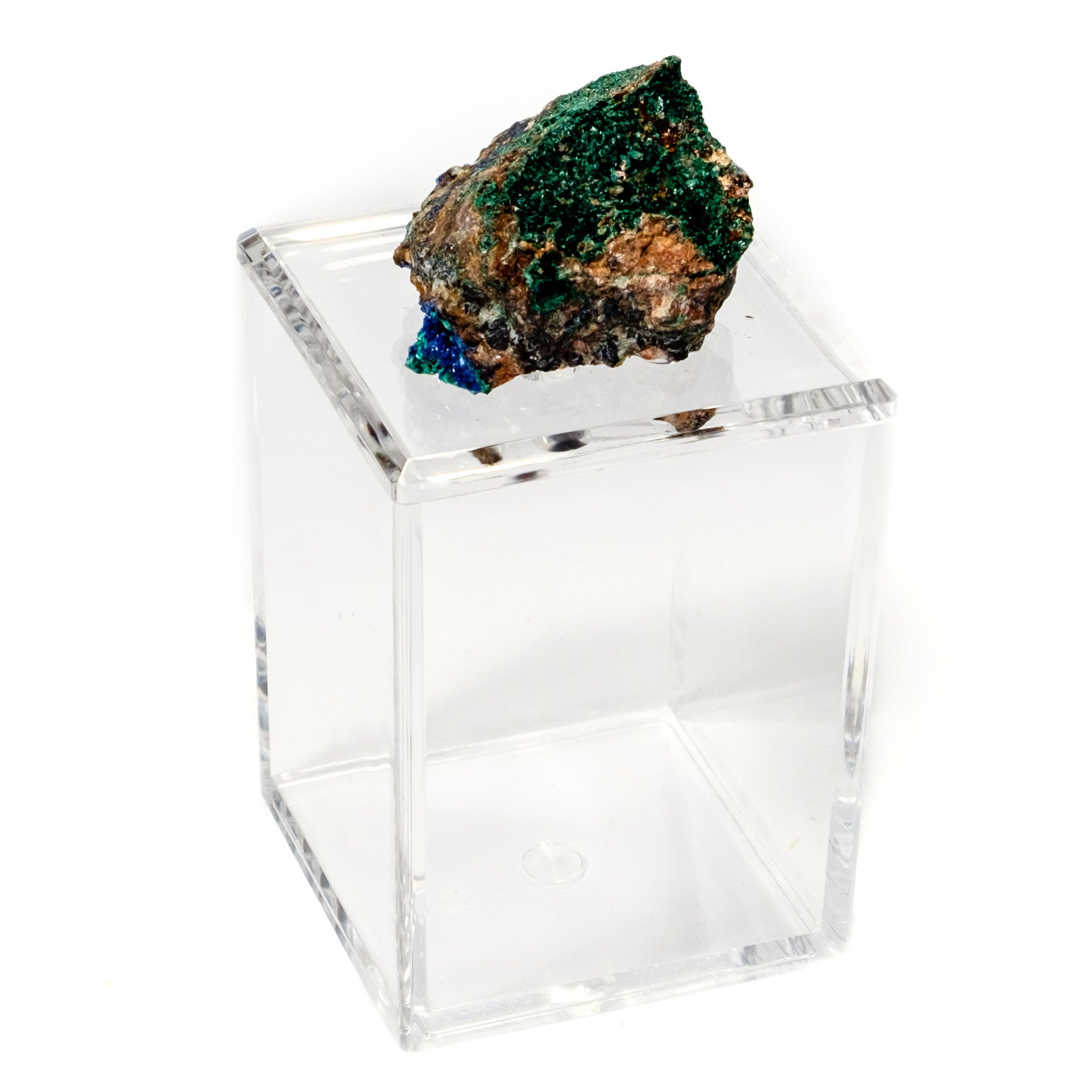 Tall Acrylic Box w/ Azurite and Malachite