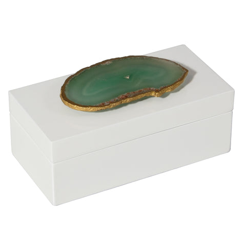 Medium White Lacquer Box with Green Agate