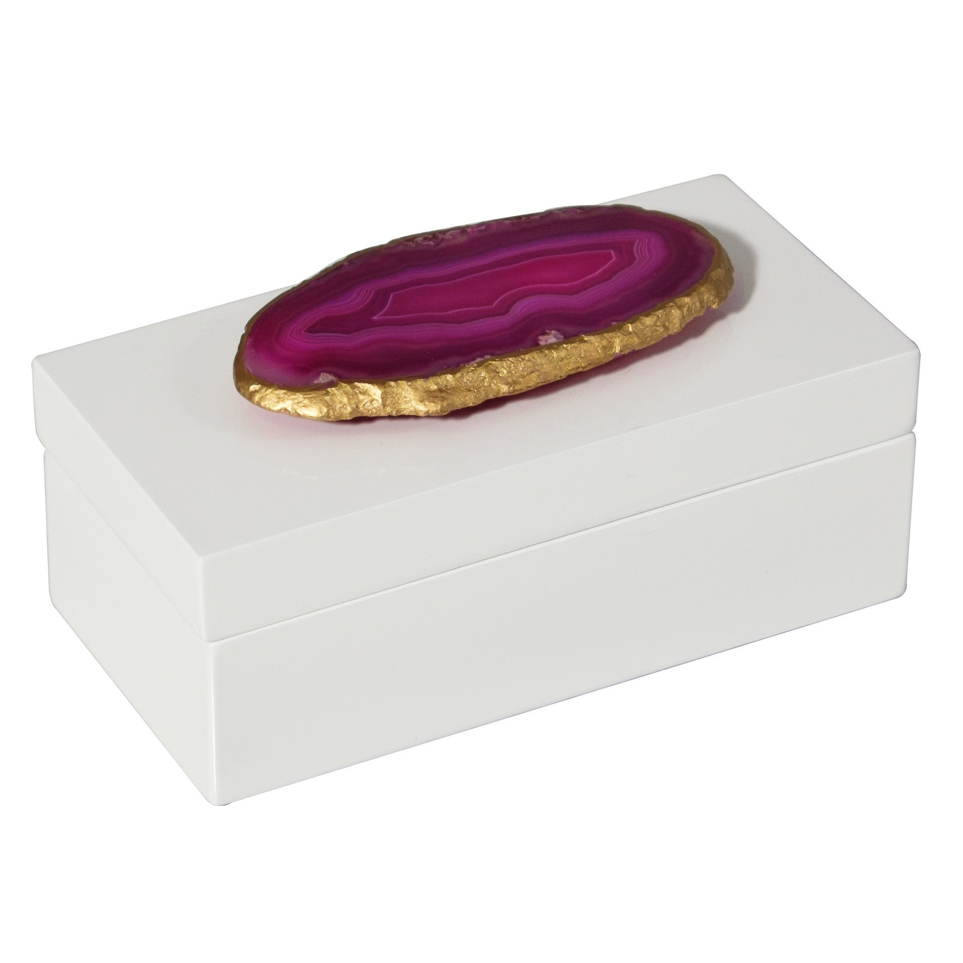 Medium White Lacquer Box with Pink Agate by Mapleton Drive