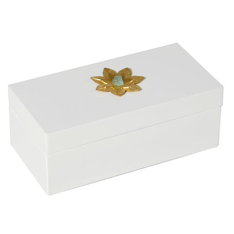 Medium White Lacquer Box with Brass Lotus and Apatite