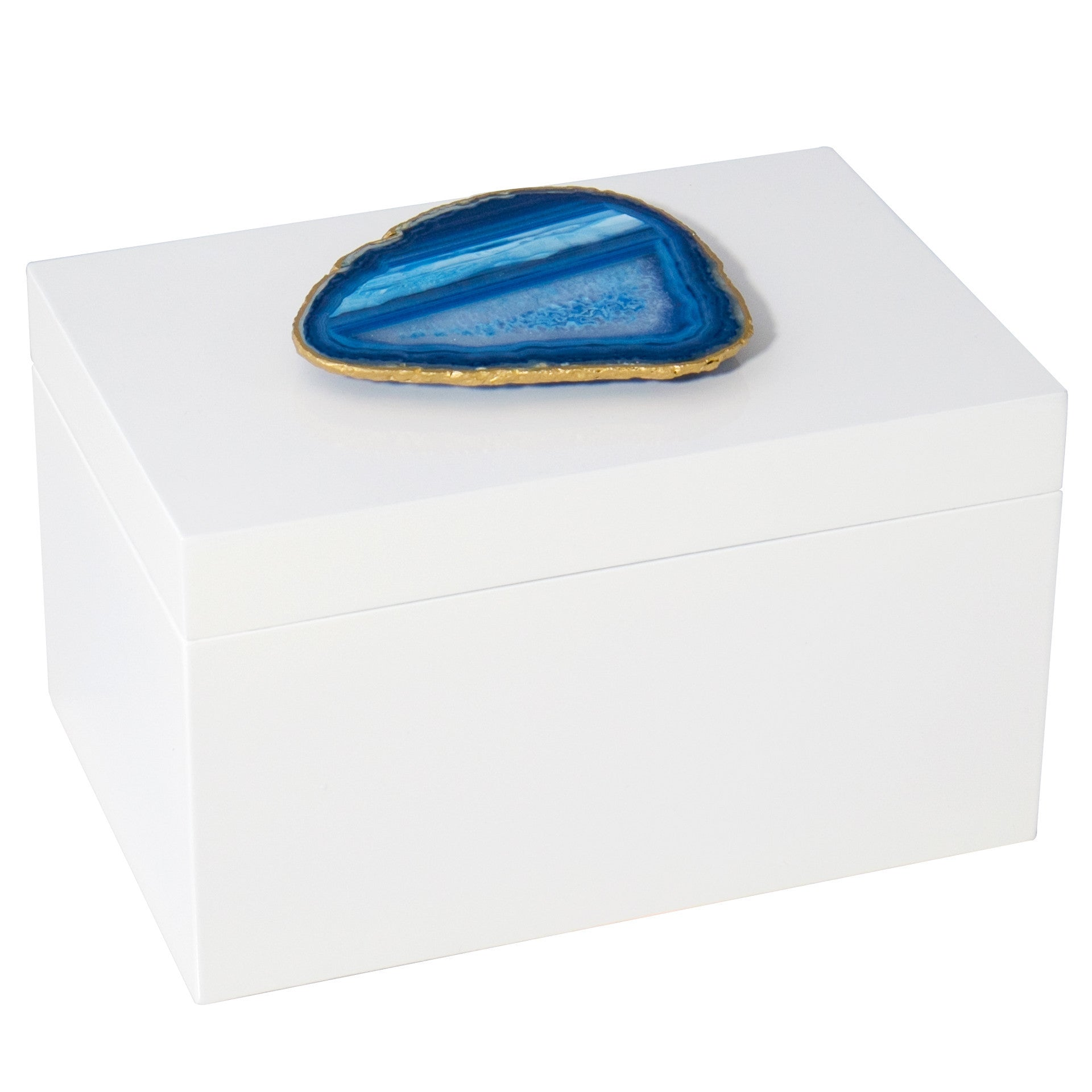 Remote White Lacquer Box with Blue Agate