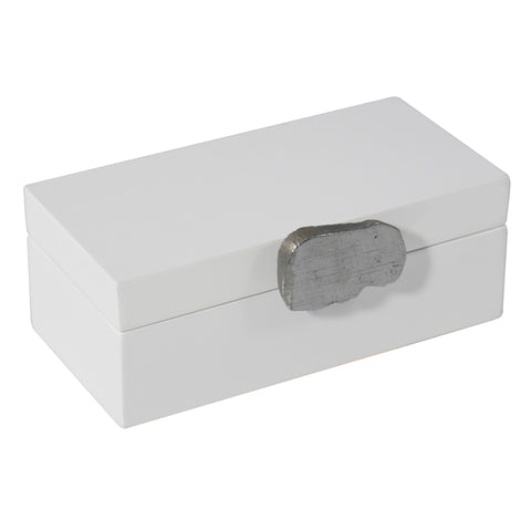 Medium White Lacquer Box with Gilded Silver Agate Knob