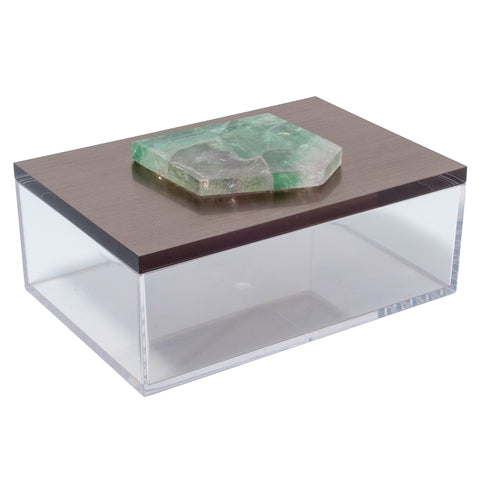 Large Acrylic Gun Metal Gray Box w/ Irregular Fluorite Slab
