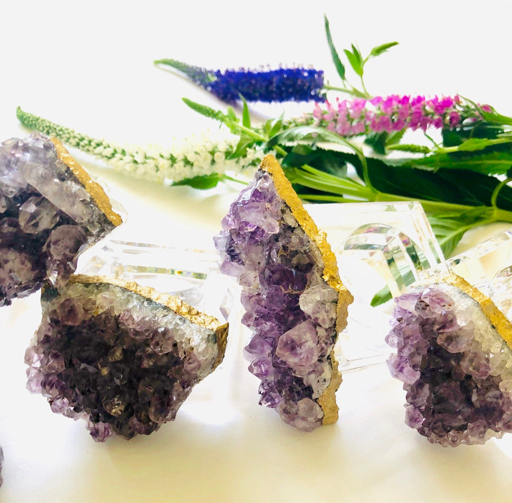 amethyst napkin rings by Mapleton Drive