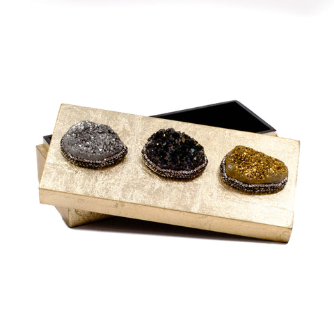 Small Gold Druzy Jewel Box in Metallic Jewel Tones by Mapleton Drive