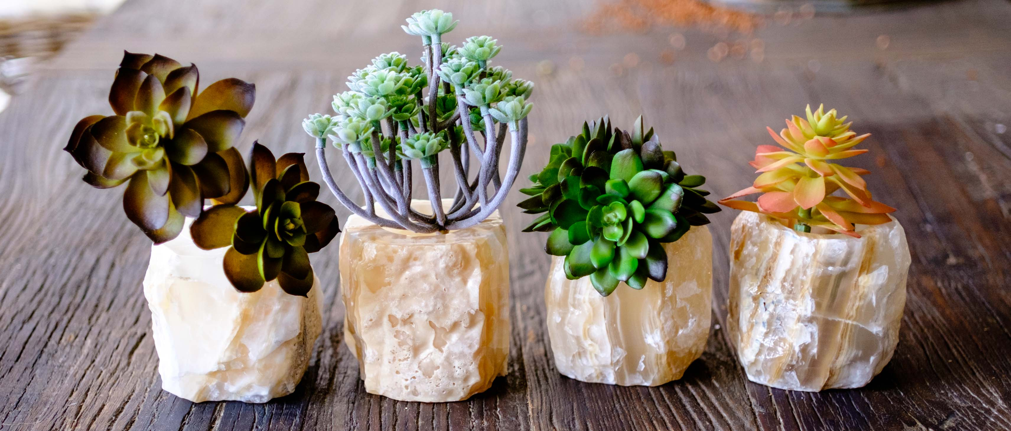Hand Carved Onyx Planters or candle holders by Mapleton Drive