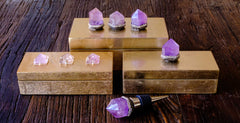 Gold Gift Box jeweled with amethyst pyramids by Mapleton Drive