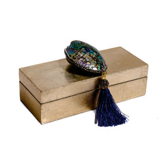 beautiful gold gift boxes with abalone shell and tassel by Mapleton Drive