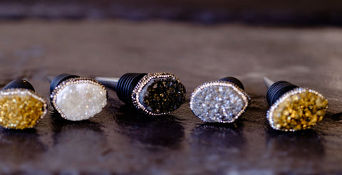 Druzy wine stopper collection by Mapleton Drive