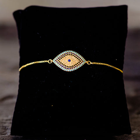 adjustable pull chain evil eye bracelet by Mapleton Drive