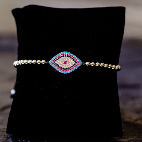 Adjustable Pull Beaded Bracelet w/ Silver Evil Eye