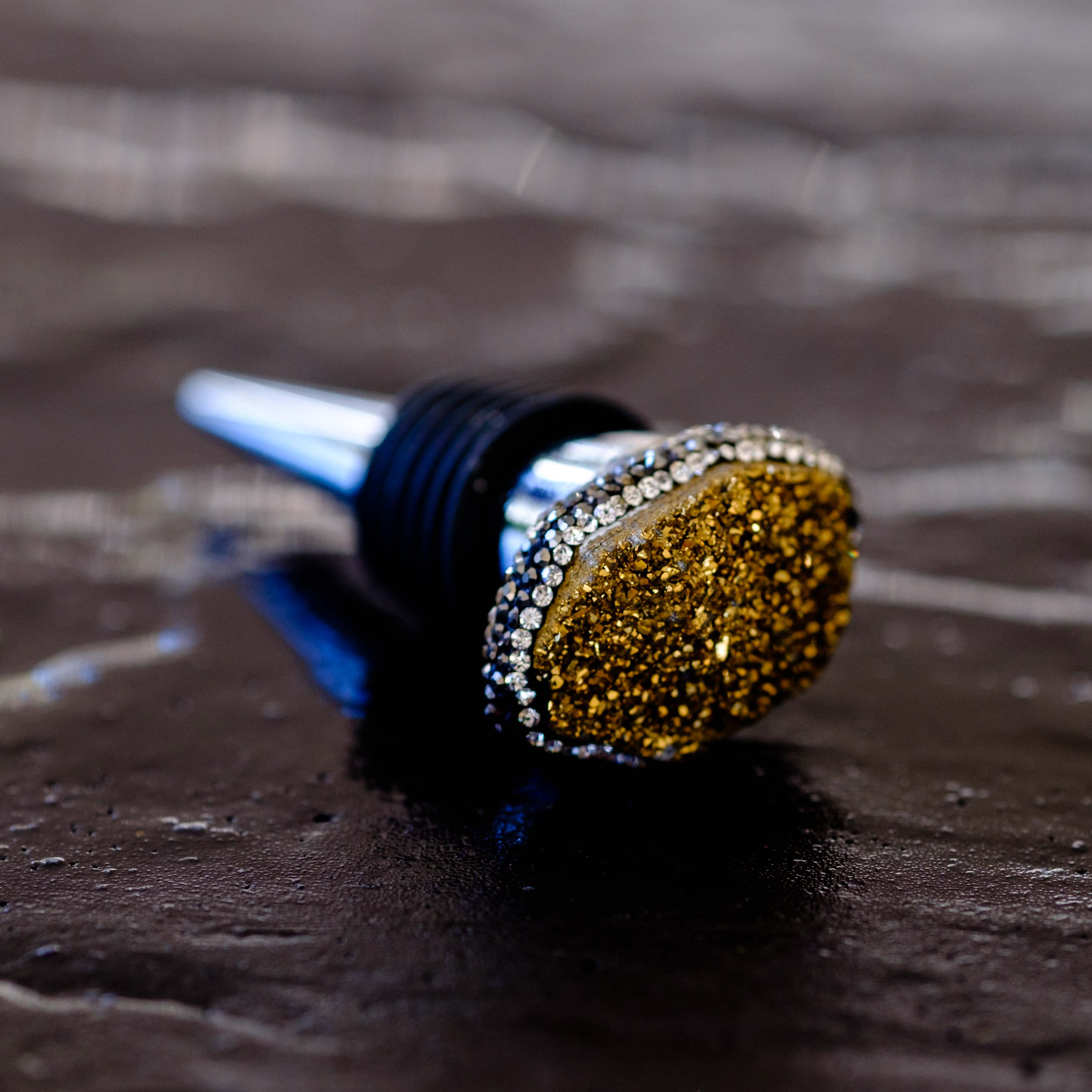 Gold druzy bottle stopper by Mapleton Drive