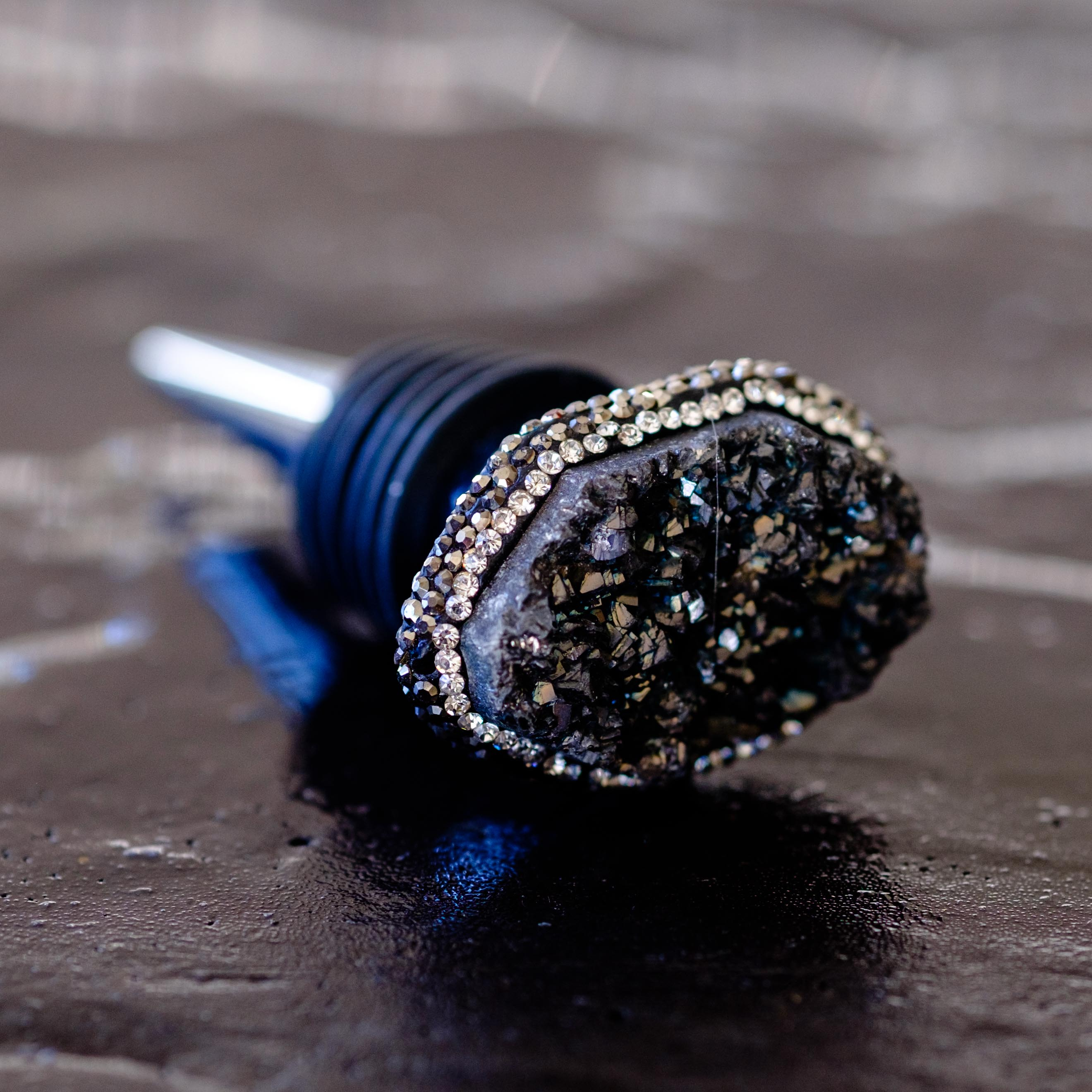 Black druzy bottle stopper by Mapleton Drive
