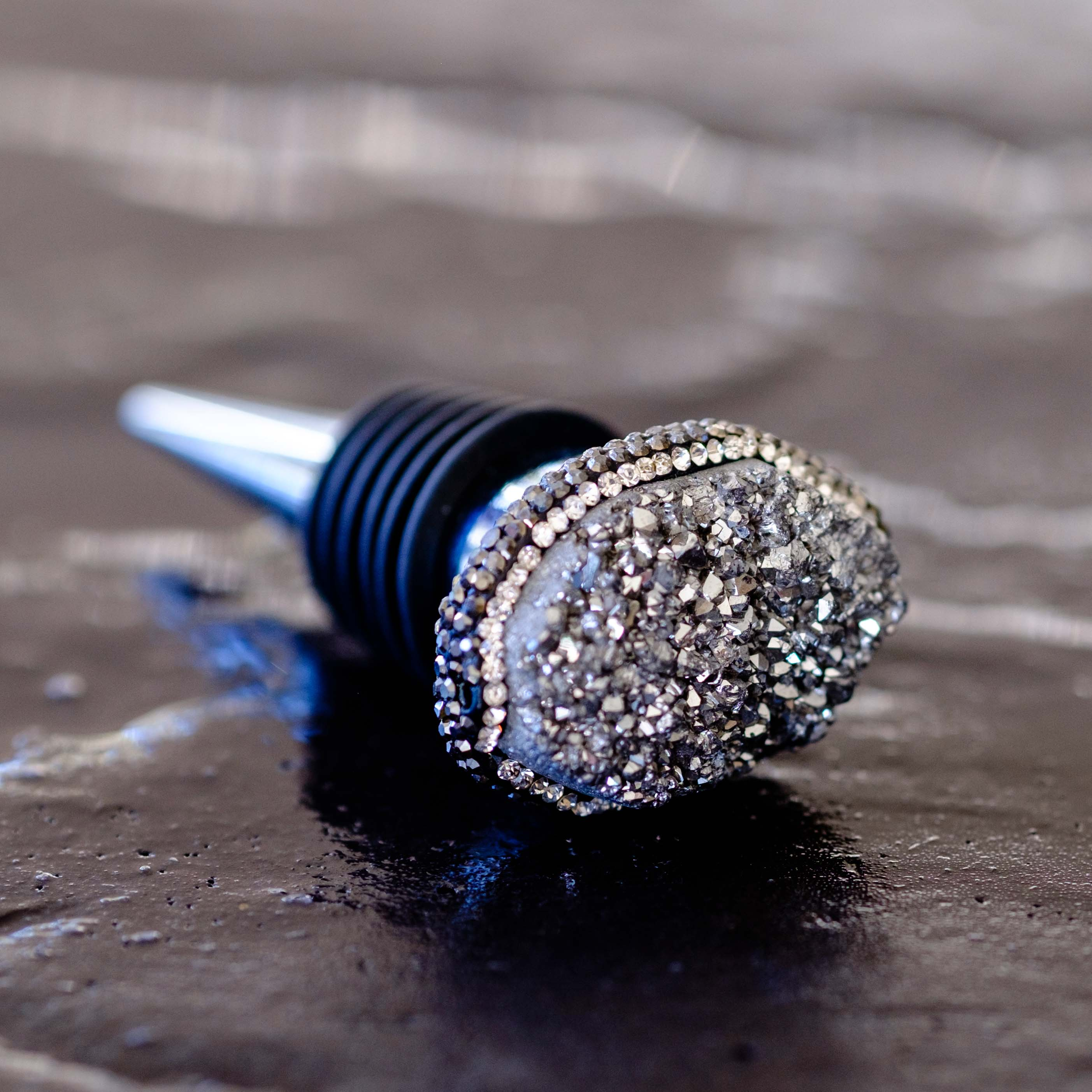 Silver druzy wine stopper by Mapleton Drive
