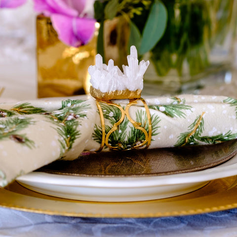 Gold quartz napkin rings by Mapleton Drive
