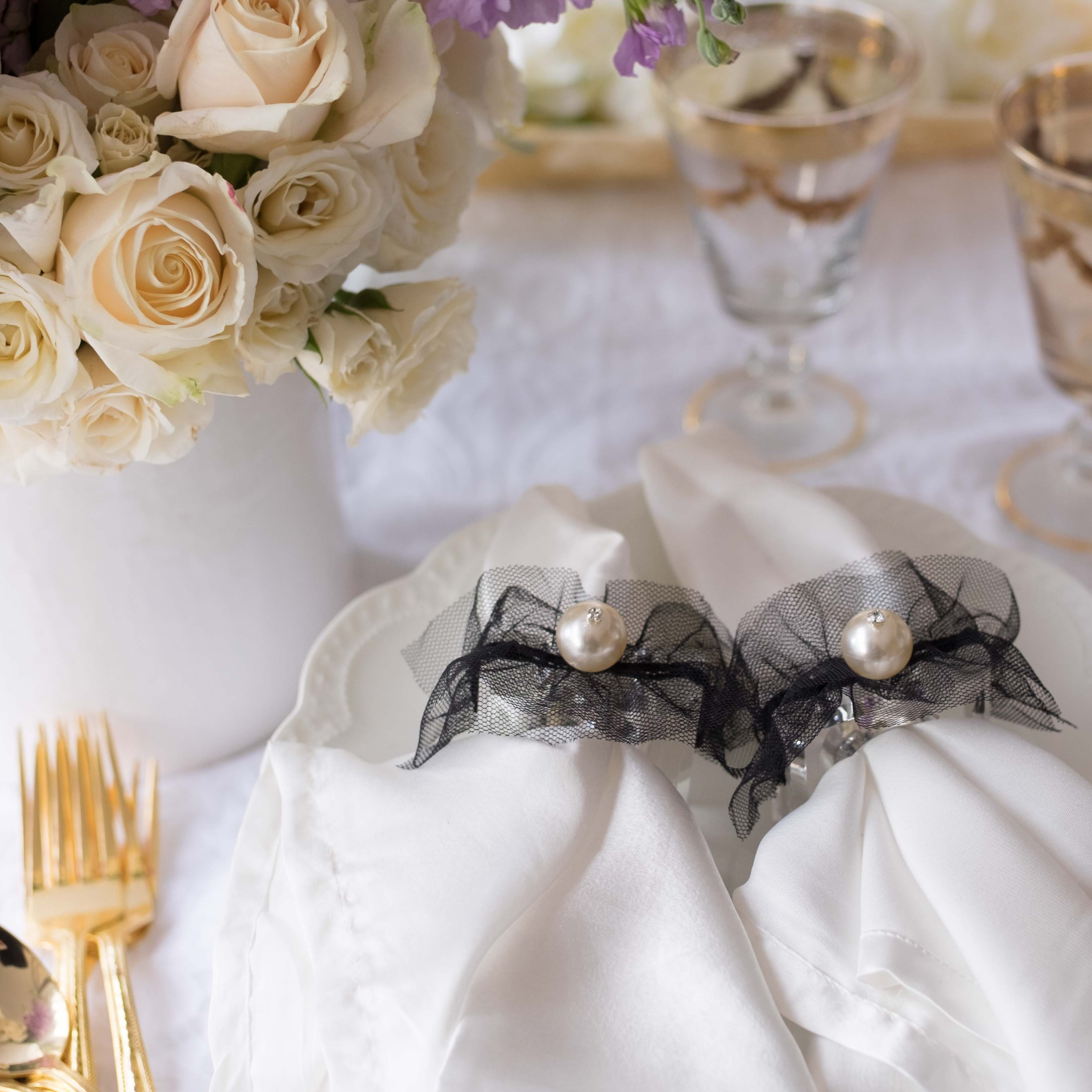 Wedding pearl napkin rings by Mapleton Drive
