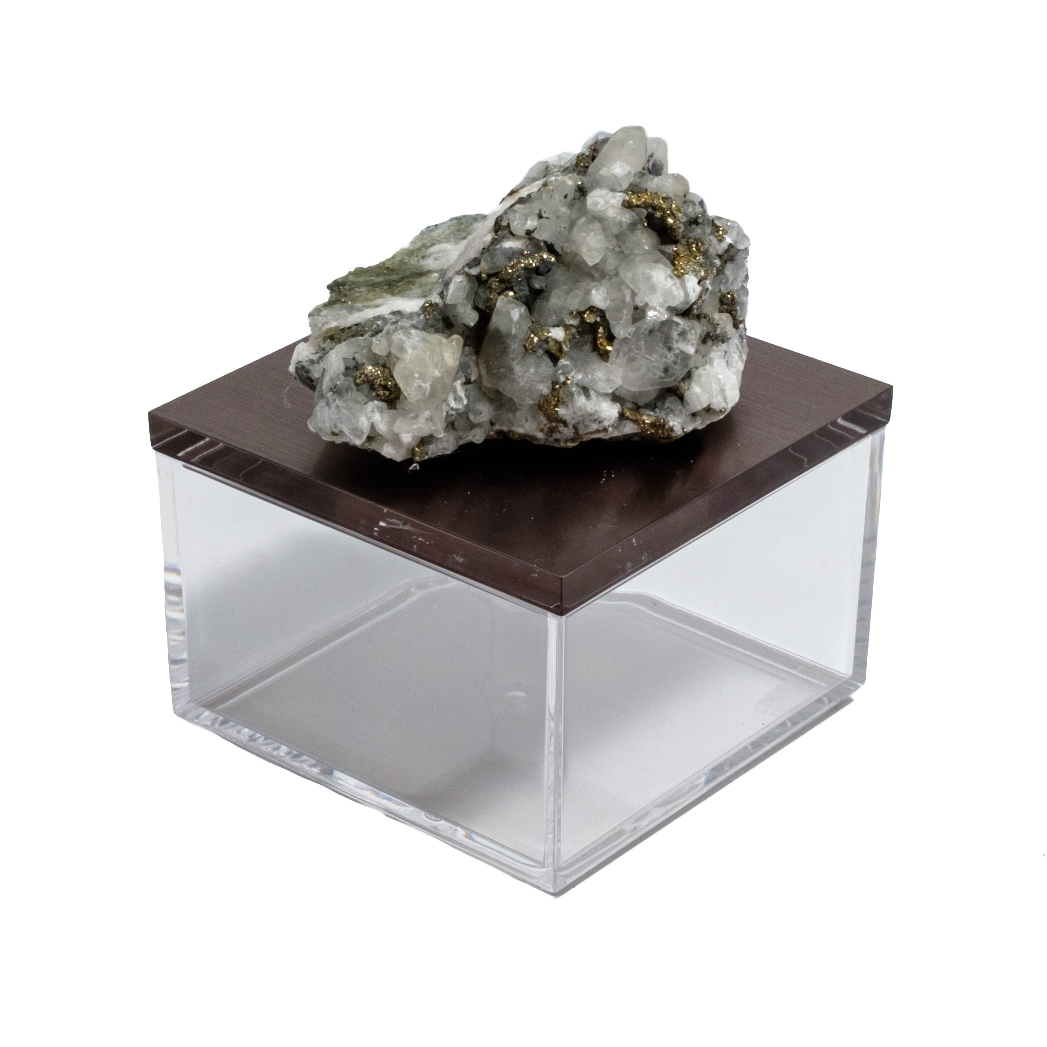 calcite and pyrite gemstone box by Mapleton Drive
