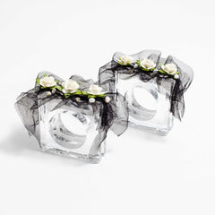 Wedding gifts a set of two napkin rings with gardenias and tulle  by Mapleton Drive