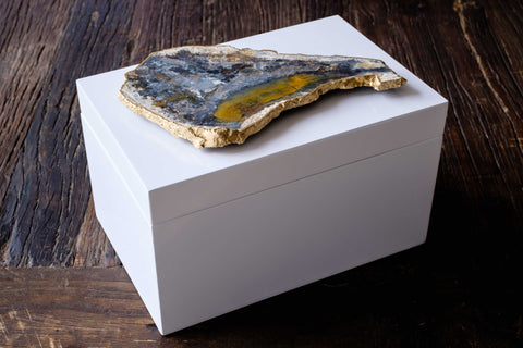 Extra Large White Lacquer Box with Agate Slab2