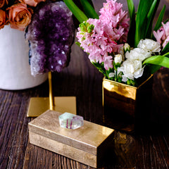 Medium Gold Lacquer Box with Fluorite