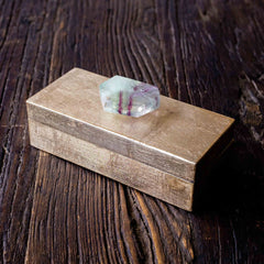 gold gift box with fluorite stone by Mapleton Drive