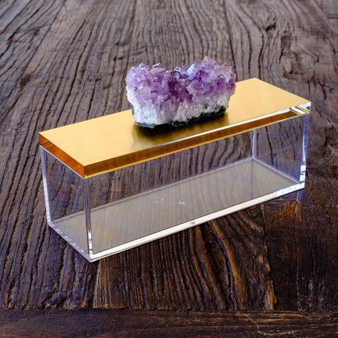 Acrylic Gold Box w/ Amethyst Crystal