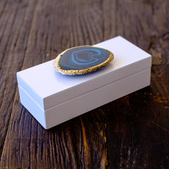 Small White Lacquer Box with Teal Agate