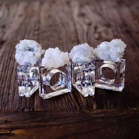 quartz crystal cluster napkin rings by Mapleton Drive