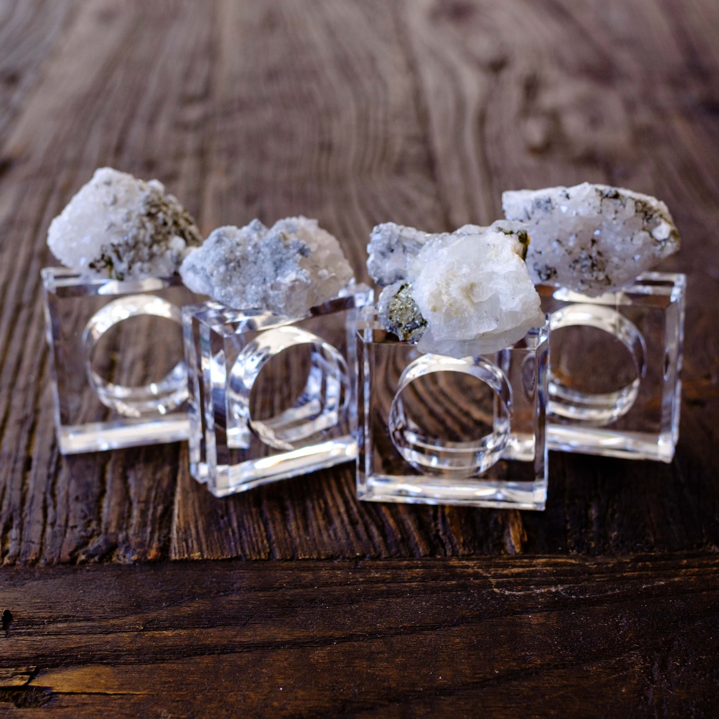 Quartz Crystal and Pyrite Napkin Rings by Mapleton Drive