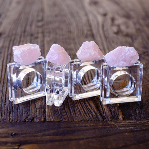 Rose Quartz Napkin Rings (set of 4)