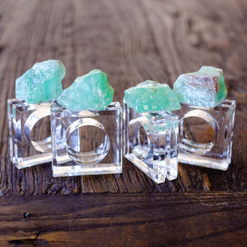 Green Calcite Napkin Rings (set of 4)