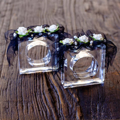 Napkin Rings w/ Gardenias, Rhinestone, Fresh Water Pearls and Black Tulle(set of 2)