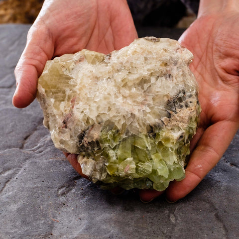 Green calcite specimen by Mapleton Drive