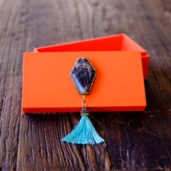 Medium Orange Lacquer Box with Labradorite Gemstone and Tassel