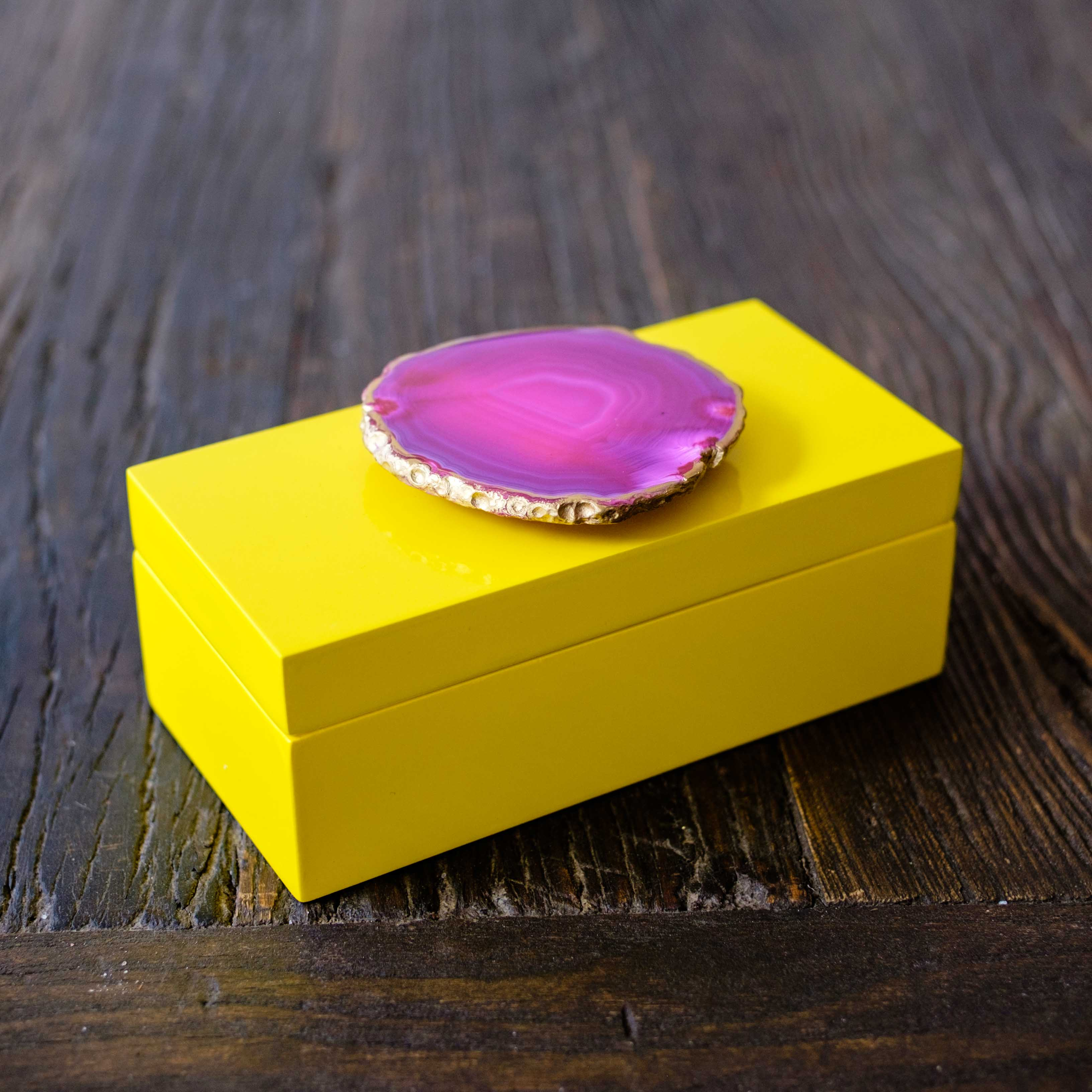 Medium Yellow Lacquer Box with Pink Agate