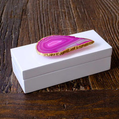 Small White Lacquer Box with Pink Agate by Mapleton Drive