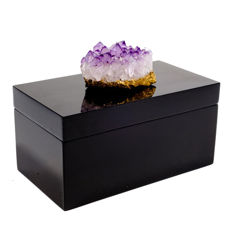 Large Black Lacquer Box with Amethyst