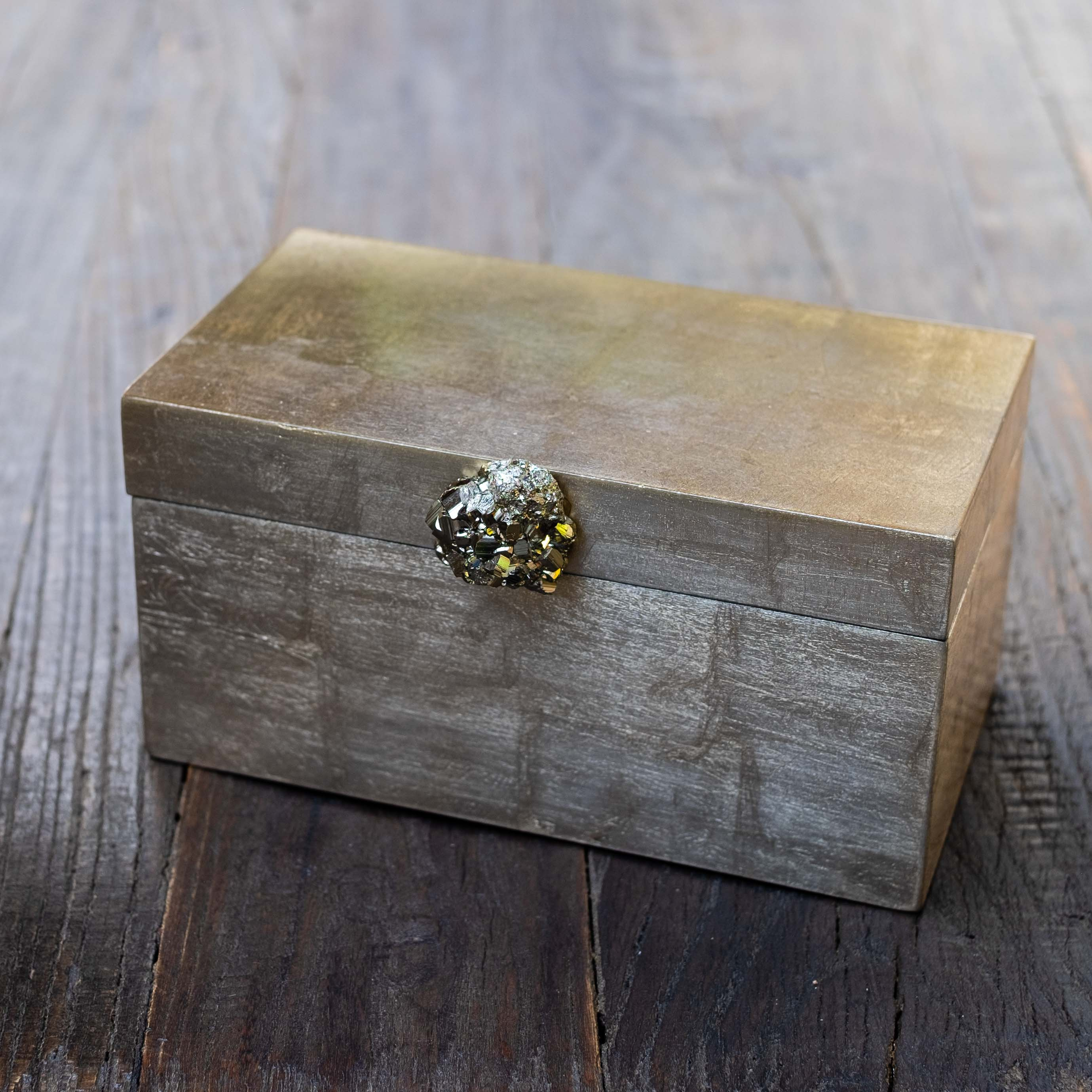 Large Brushed Gold Box w/ Pyrite Knob