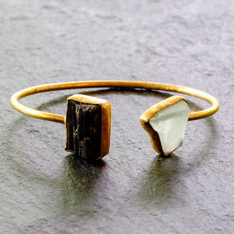 Mixed Gemstone Rough Cut Cuff