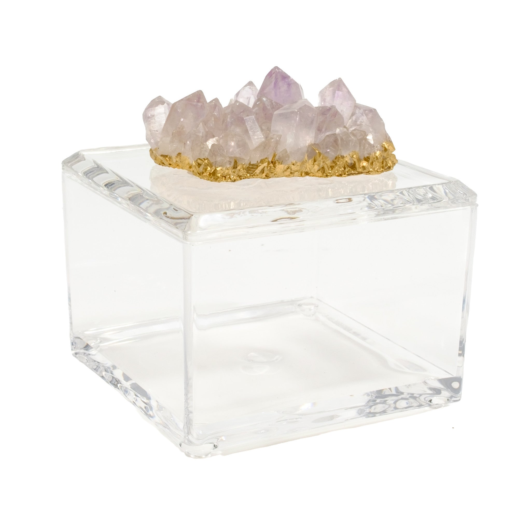 Small Acrylic Box w/ Zambian Amethyst and Gilded Gold