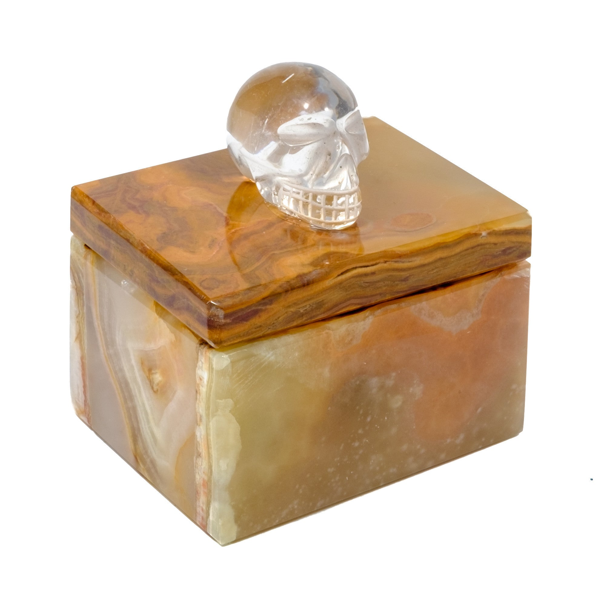 Very Small Onyx Pill Box w/ Crystal Quartz Skull by Mapleton Drive
