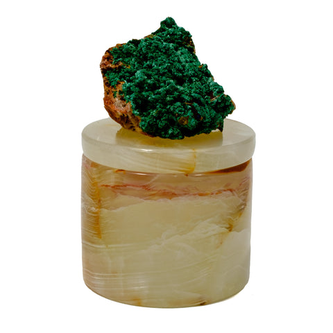 Small Onyx Pill Box with Malachite