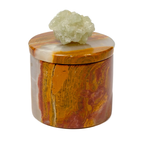 Onyx Round Box with Prehnite