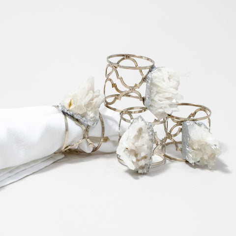 Silver Ornate Napkin Rings with Himalayan Crystals