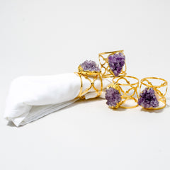 Gold Ornate Napkin Rings with Amethyst