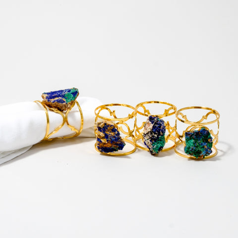 Gold Ornate Napkin Rings with Azurite and Malachite Gemstones
