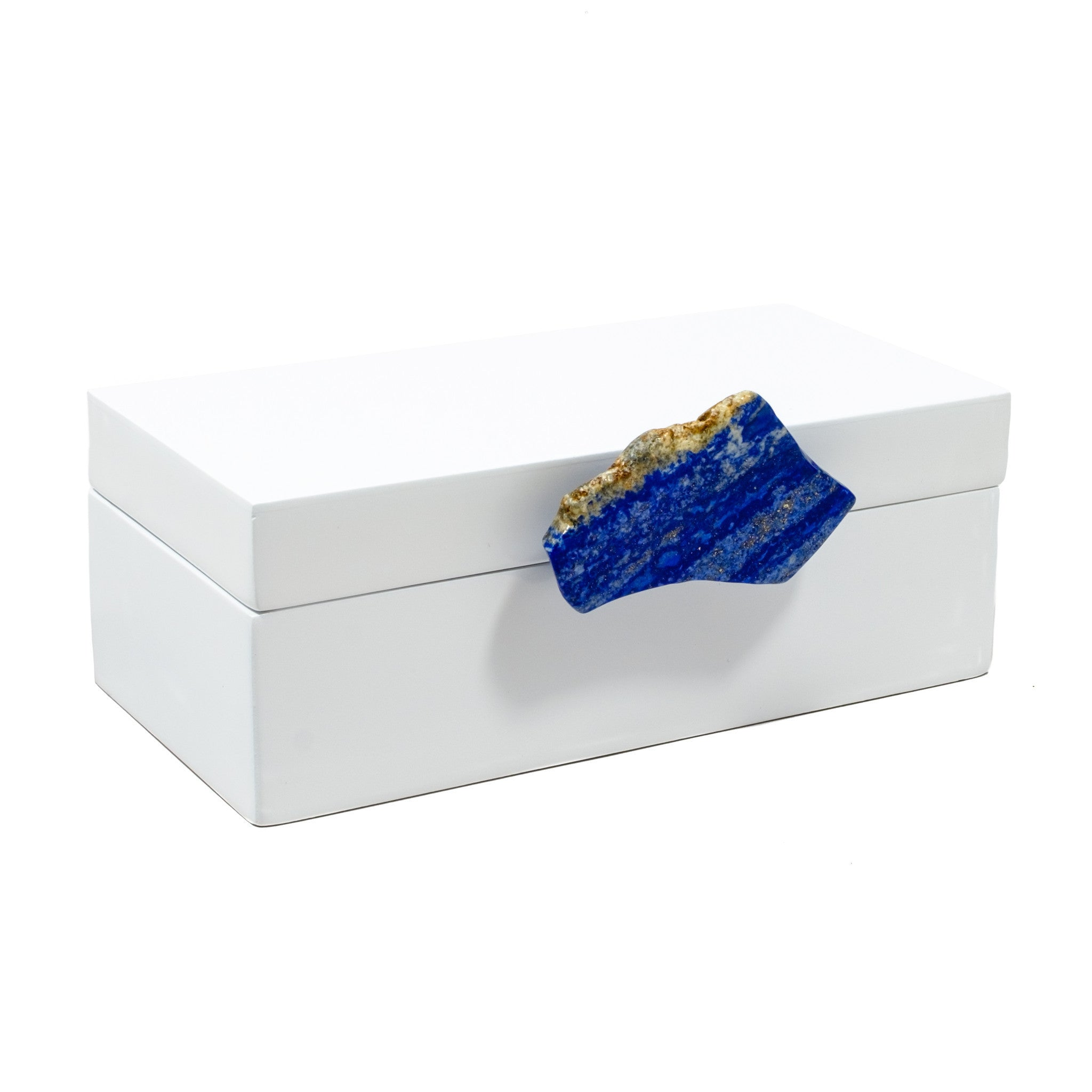 Medium White Lacquer Box with Lapis Blue Knob