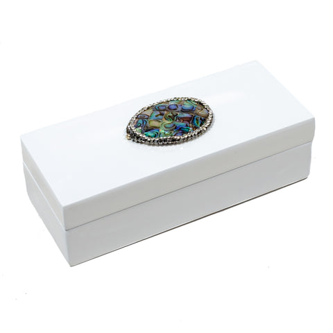 Medium White Lacquer Box with Abalone Shell