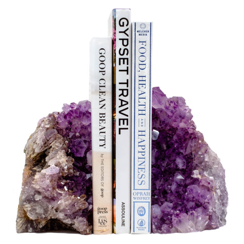Amethyst bookends add a bit of natural opulance to any home decor.