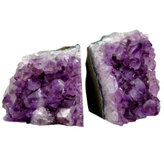 Purple amethyst crystal bookends are perfect for any decor.